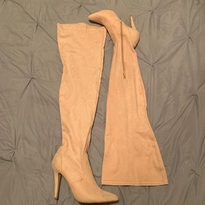 Suede Nude Pink Over-the-Knee Boots